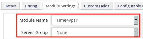 Time4VPS module in WHMCS